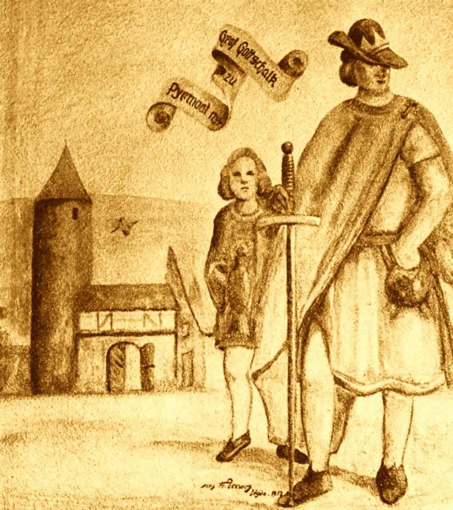 Burg Pyrmont 29, Graf Gottschalck vor der Stadt Lügde