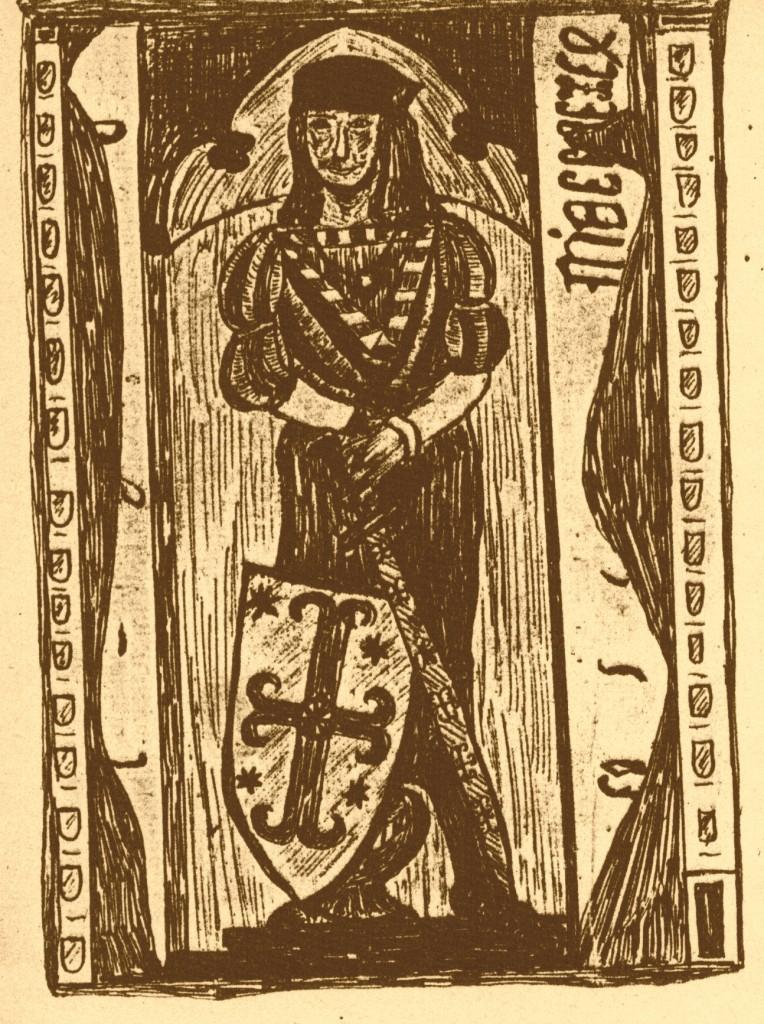 Grabstein Graf Moritz von Pyrmont +1494, Zeichnung von Joh. Conrad Pyrach