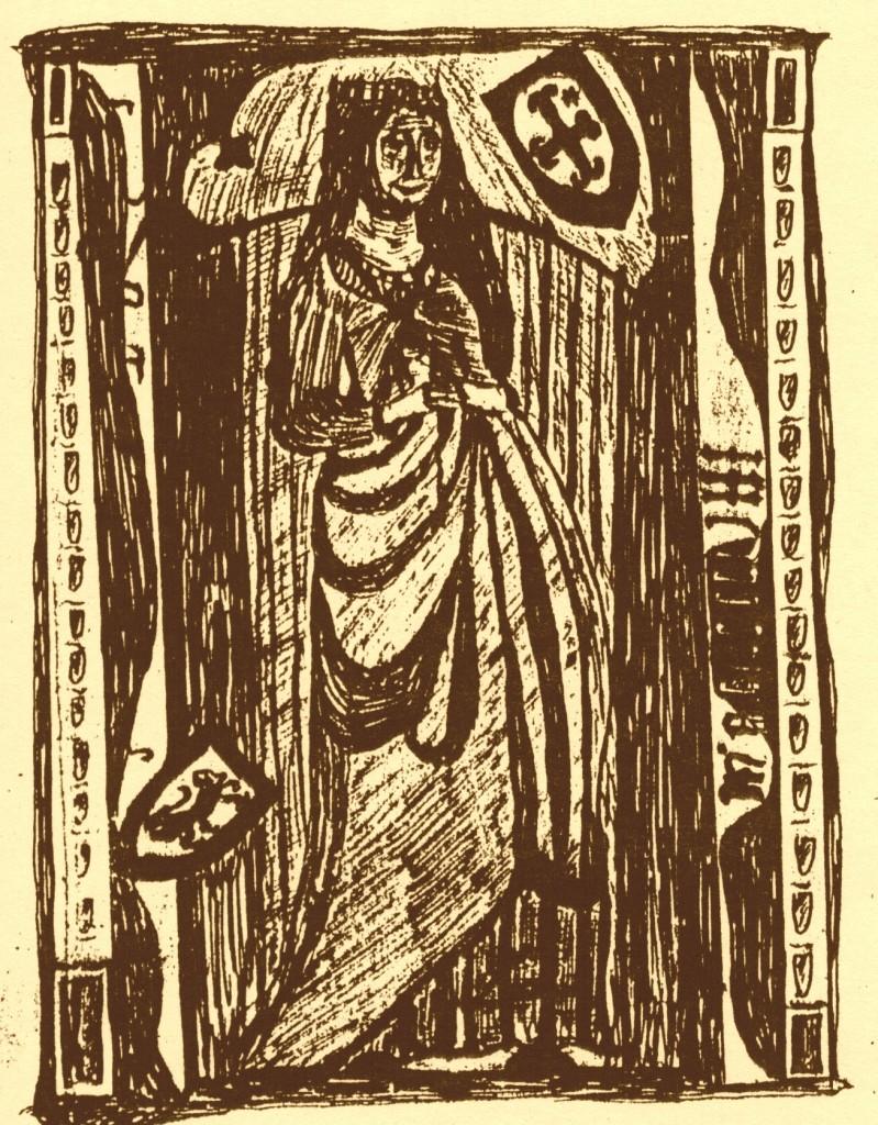 Grabstein MArgarethe Gräfin von Pyrrmont +1498, Zeichnung von Joh. Conrad Pyrach
