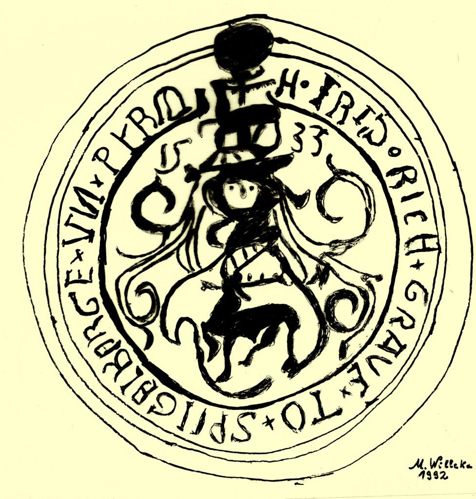 Siegel des Grafen Friedrich von Spiegelberg und Pyrmont, Nachzeichnung
