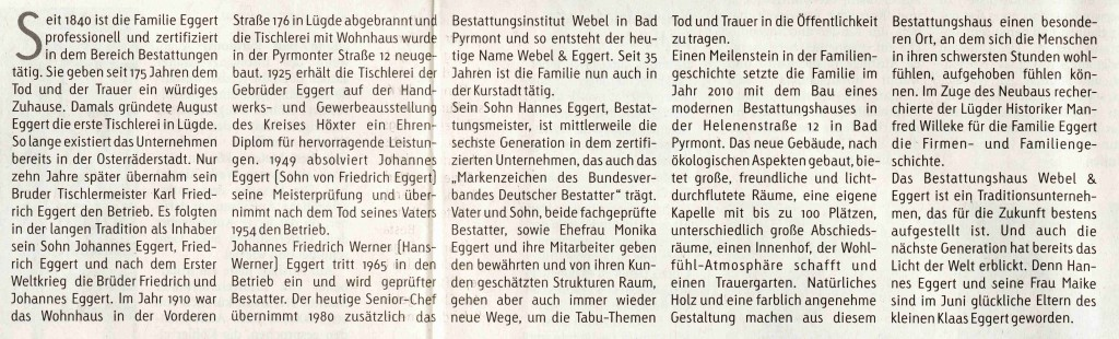 Pyrmonter Nachrichten 13.11.2015, 175 Jahre Webel und Eggert