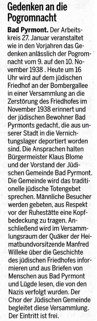 Pyrmonter Nachrichten, 9. November 2015